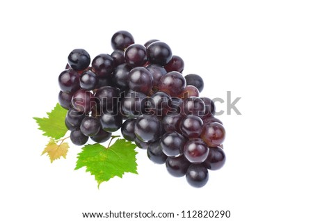 Black grape with leaf isolated on white background - stock photo