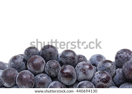 Black grapes closeup isolated