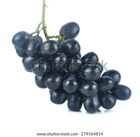 Black grapes isolated on the white background. - stock photo