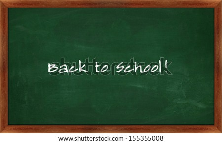 black Green chalk board with back to school concept . - stock photo