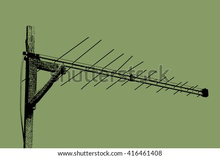 Black-green illustration of the analog television antenna
