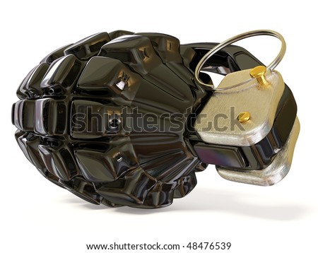 black grenade on white background - stock photo