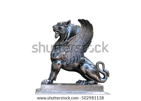 Black griffin griffon gryphone cast iron old town Odessa isolated
