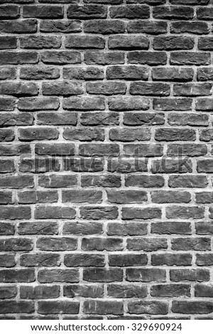 Black grunge brick wall  for background - stock photo