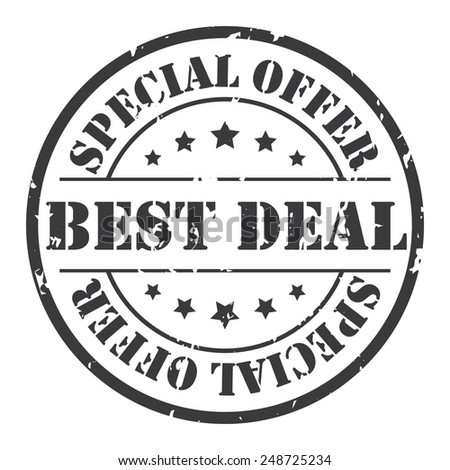 Black Grunge Circle Best Deal Special Offer Stamp, Icon, Label or Sticker Isolated on White Background  - stock photo