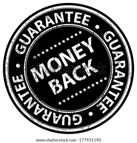 Black Grunge Style Money Back Guarantee Icon, Badge, Label or Sticker for Product Warranty, Quality Assurance, CRM or Customer Satisfaction Concept Isolated on White Background