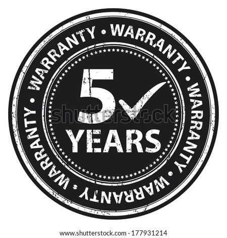 Black Grunge Style 5 Years Warranty Icon, Badge, Label or Sticker for Product Warranty, Quality Control, Quality Assurance, Quality Management, CRM or Customer Satisfaction Concept Isolated on White - stock photo