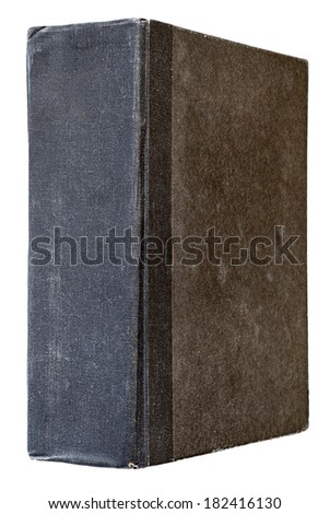 black grunge vintage book isolated on white background - stock photo