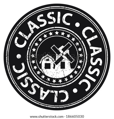 Black Grungy Style Classic Icon, Label or Sticker Isolated on White Background  - stock photo