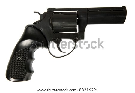 Black gun on white background, dangerous and safety concept - stock photo