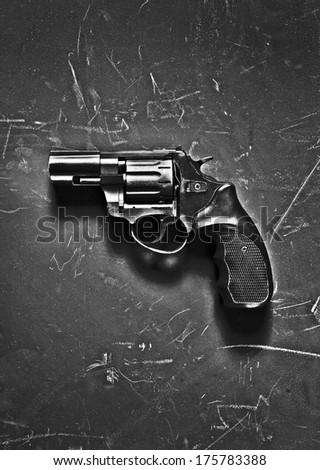 Black gun / studio photography of handgun on black background  - stock photo