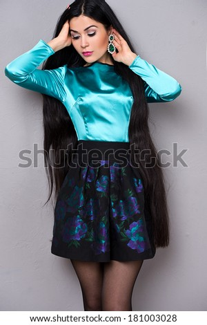 Black hair , beautiful brunette woman with long natural hairand - stock photo