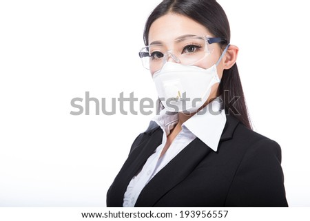 black hair girl with a mask on her face. Isolated on white