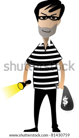 Black hair thief walking with a torch cartoon isolated on white background
