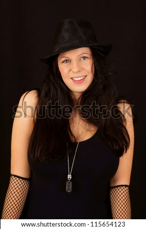 black haired woman / pretty woman