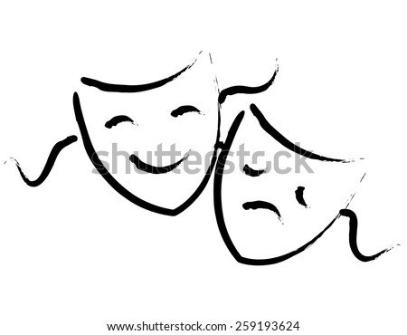 Black hand drawn happy and sad theater masks / faces isolated on white background - stock photo