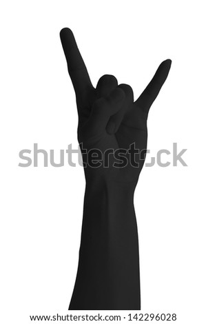 Black hand giving the Rock and Roll sign - stock photo