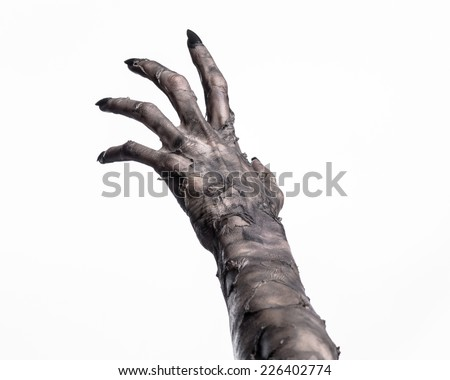 black hand of death, the walking dead, zombie theme, halloween theme, zombie hands, white background, isolated, hand of death, mummy hands, the hands of the devil, black nails, hands monster - stock photo