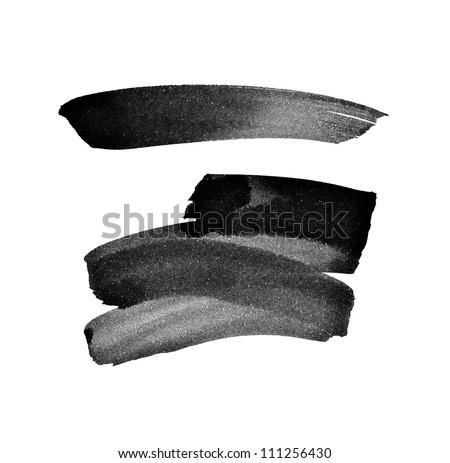Black hand painted brush strokes - stock photo