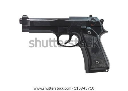 Black handgun isolated on a white background - stock photo