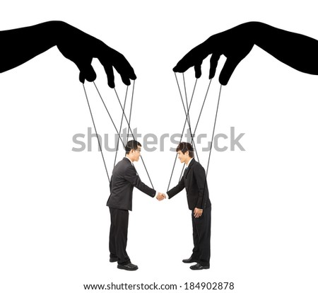 black hands shadow control two businessman actions - stock photo