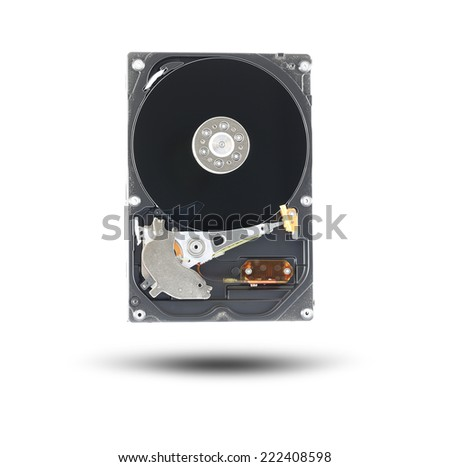 Black Hard disk isolated on white background. - stock photo