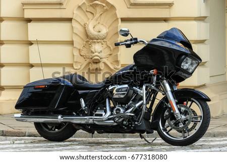 Black Harley Davidson Glide Motorcycle Warsaw Stock Photo (Edit Now