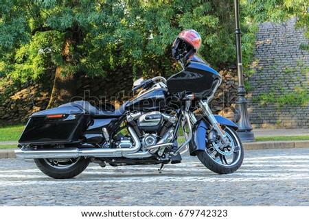 Black Harley Davidson Glide Motorcycle Warsaw Stock Photo 679742323