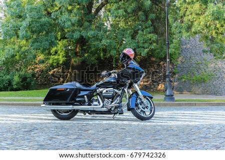 Black Harley Davidson Glide Motorcycle Warsaw Stock Photo (Royalty