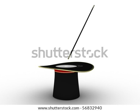 Black hat of the conjurer isolated on white background