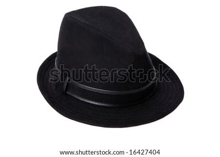 Black hat on the white background - stock photo