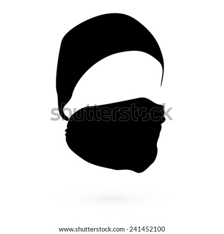 Black hat with a mask. Raster. 2 Raster.  - stock photo