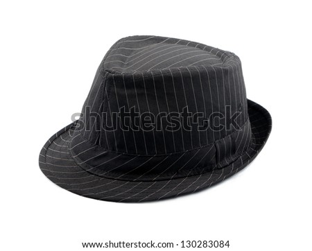 Black hat with stripes isolated on white background - stock photo