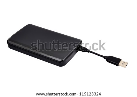 black hdd on a white background - stock photo