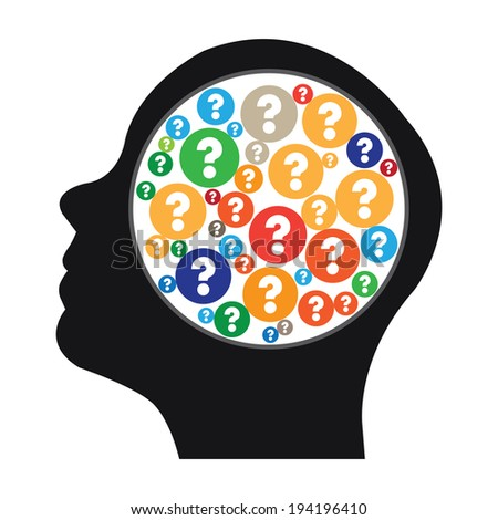 Black Head With Group of Colorful Question Mark Icon in Brain Isolated on White Background - stock photo