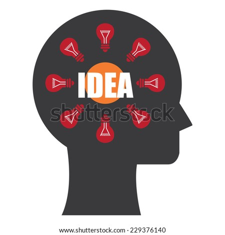 Black Head With Idea and Light Bulb Inside Icon or Label Isolated on White Background  - stock photo