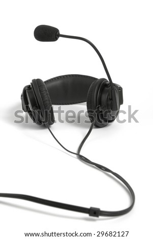 Black headphone with microphone on white background