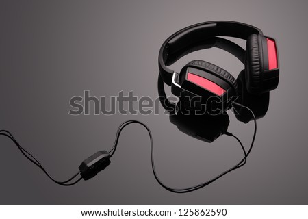 Black headphones - stock photo