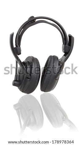 black headphones isolated on a black background
