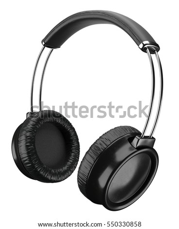 Black headphones isolated on white background, 3D rendering