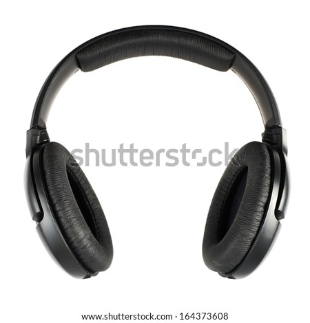 Black headphones isolated over white background