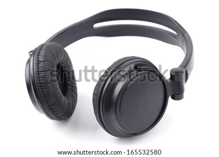 Black headphones on a white background