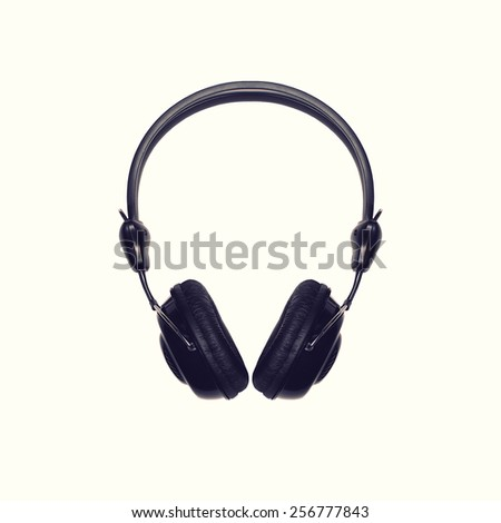 Black headphones on a white background, top view
