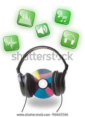 black headphones with  CD disc on white - stock photo