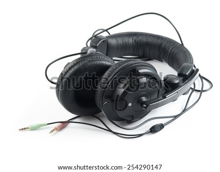 Black Headphones with White Background