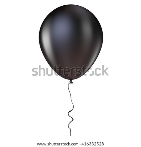 Black helium balloon with ribbon. 3D render illustration isolated on white background - stock photo