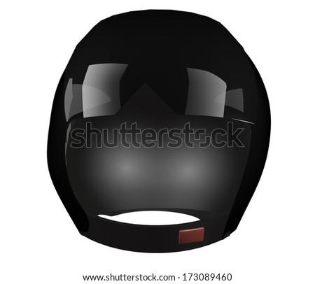 Black helmet over white background, 3d render