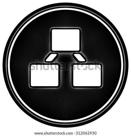 Black hierarchy icon on white background - stock photo