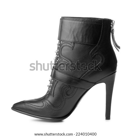 Black high boot women shoe isolated on white background.