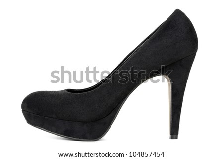 Black High Heel Pump. View from the side and isolated on white background.